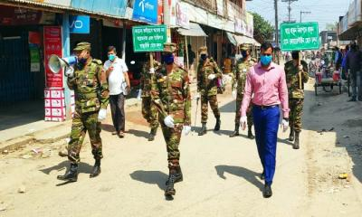 জয়পুরহাটে করোনার সংক্রমণ ঠেকাতে সেনাবাহিনীর প্রচারণা